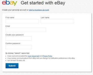 E bay Sign up